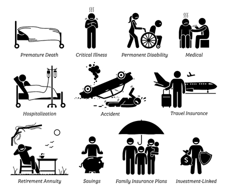 Life Insurance Protection. Stick figures depict life insurance protection for premature death, critical illness, permanent disabilities, medical, hospital,  accident, travel, and saving plans.