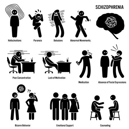 Esquizofrenia iconos crónicos del desorden cerebral. Pictogramas que muestran signos, síntomas y tratamiento de la esquizofrenia enfermedad del trastorno cerebral. Ilustración de vector