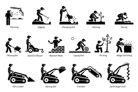 Landscaping and equipment image illustration