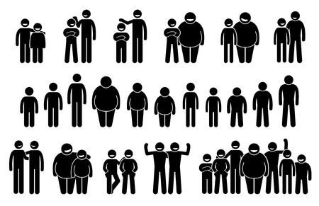 Mensen en man van verschillende lichaamsmaten en hoogten pictogrammen. Stokfiguren pictogram geven gemiddelde, lange, korte, dikke en dunne lichaamsfiguren van de mens weer.