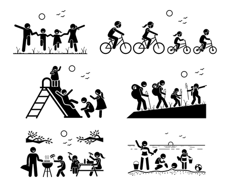 Family outdoor recreational activities. Stick figure pictogram depicts family in the park, riding bicycle together, playing at playground, hiking, outdoor barbecue picnic, and enjoying themselves at beach. Illustration