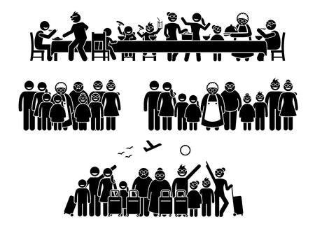 Big family and relatives reunion, gathering and activities. Stick figure pictogram depicts family and relatives getting together for a meal, vacation, and photo session together.