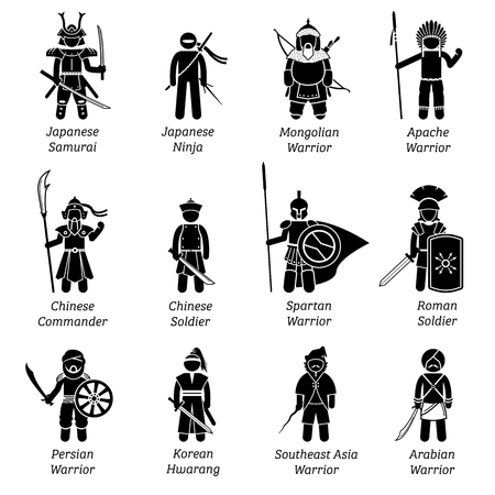 Ancient warriors around the world. Illustrations depict ancient soldiers, military, fighters, outfit, wear, weapon, and armors of different dynasty and empires throughout the history. Vettoriali