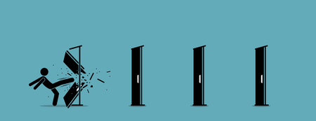 Man kicking down and destroying door one by one. Vector illustration depicts eliminating barrier of entries, roadblocks, overcome challenges, and destroying obstacles with power and brute force. Stock Illustratie