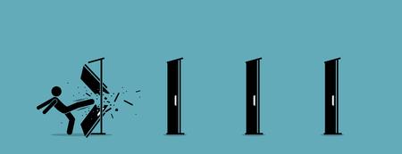 Man schopt en vernietigt de deur één voor één. Vector illustratie toont het elimineren van toegangsbarrières, wegversperringen, het overwinnen van uitdagingen en het vernietigen van obstakels met kracht en brute kracht.