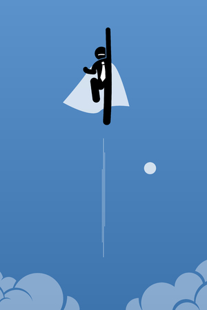Businessman with cape flying up to the sky. Vector artwork illustration depicts power, breakthrough, quantum leap, and success.