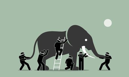 Hombres ciegos tocando un elefante. La ilustración de arte vectorial representa el concepto de percepción, ideas, puntos de vista, impresiones y opiniones de diferentes personas en diferentes puntos de vista. Ilustración de vector