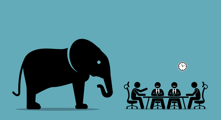 Elephant in the room. Vector artwork illustration depicts the concept of obvious problem, avoiding difficult situation, and evading unpleasant scenario.