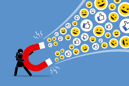 Woman using a big magnet to attract social media likes thumb up, and smiles. Vector artwork illustration depicts the concept of social media attraction, likes, hype, viral and the Internet technology.