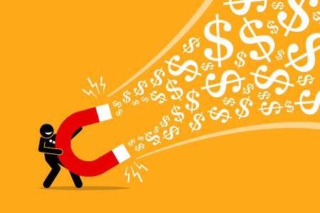 Imprenditore utilizzando un grande magnete per attirare denaro. L'illustrazione del materiale illustrativo di vettore descrive il concetto di fare soldi, un'idea di affari di successo, successo finanziario, guadagno e profitto.