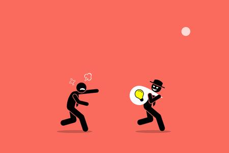 사업 아이디어를 훔치는 악한 사업가. 벡터 아트웍 그림은 비즈니스 도둑, 저작권 침해, 표절, 나쁜 사람, 부정직, 속임수 및 사기꾼의 개념을 묘사합니다.