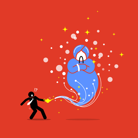 Businessman and a Genie in a lamp. Vector artwork illustration depicts the concept of wish, grant, reward, hope, and luck.
