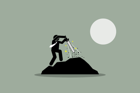 Businessman pulling Excalibur sword out from a rock. Vector illustration depict the concept of destiny, success, prospect, potential, the chosen one, and fate.