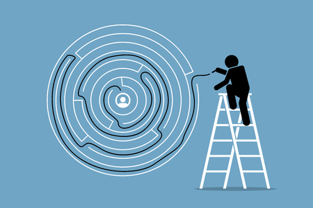 Man successfully finds the solution and way out of a round maze puzzle. Vector artwork depicts the concept of problem solving, intelligent, and challenge.