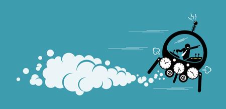 Hombre de negocios volando en una máquina del tiempo que va al futuro o al pasado. Las ilustraciones vectoriales representan la máquina del tiempo, el regreso al pasado, cambiando la historia y descubriendo el futuro. Ilustración de vector