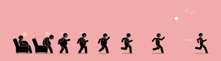 Fat man getting up, running, and become thin transformation. Vector artwork concept shows a stage by stage of an obese man turning himself into a healthy body by running.