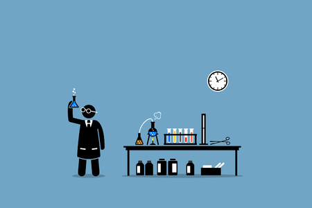 Scientist examining the result of his chemical lab experiment. Vector artwork depicts experiment, breakthrough, scientific invention, trials, and laboratory test.