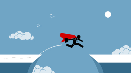 Businessman with red cape taking risk by jumping over a chasm. Vector artwork depicts the concept of courage, risk taking, bravery, determination, daring, and bold. Vettoriali