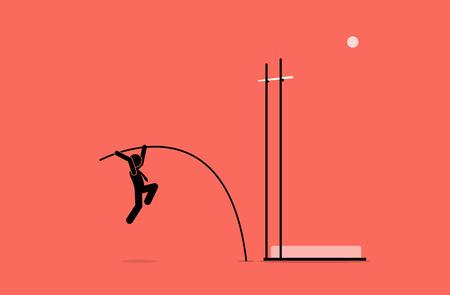 Businessman doing pole vault. Vector artwork depicts career, challenge, goal, mission, ambition, and mission.