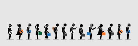 Buscadores de empleo o trabajadores de oficina y empleados haciendo cola en una fila. Las ilustraciones vectoriales representan el concepto de entrevista de trabajo y estilo de vida en la oficina.