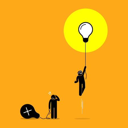 Two person created different ideas but only one is having success, while the other fails. Vector artwork shows the concept of idea success and failure.