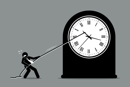 Businessman trying to stop the clock from moving. Vector artwork depicts the concept of turning back time and stopping the time because of business crisis and problem.