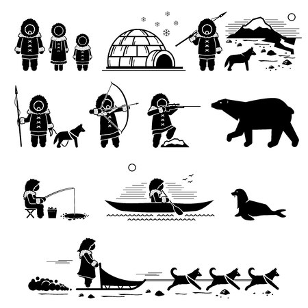 Eskimo people, lifestyle, and animals. Stick figure pictogram depicts Eskimo human, igloo, hunting, fishing, polar bear, husky dog, sled dogs, seal, and canoe.