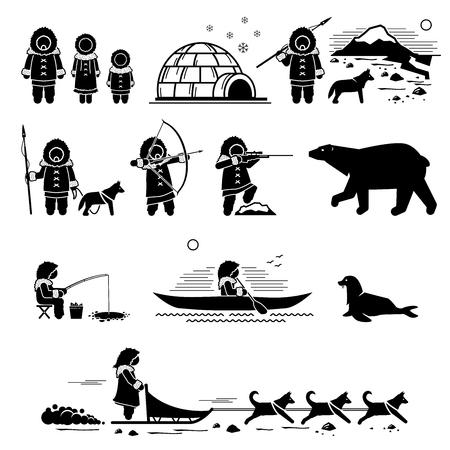 Gente esquimal, estilo de vida y animales. El pictograma de figura de palo representa a un humano esquimal, un iglú, caza, pesca, oso polar, perro husky, perros de trineo, foca y canoa. Ilustración de vector