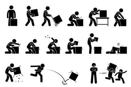 Man opening and unboxing a box. Stick figure pictogram depicts a man carrying, cutting, opening, checking, and throwing away the box. Children taking and playing with the unwanted empty box happily.
