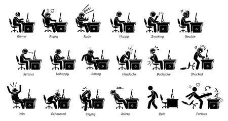 Reacciones, sentimientos y emociones de los jugadores al jugar juegos de PC. Los íconos de figuras de palo representan a personas que juegan en la computadora enojadas, felices, groseras, serias, aburridas, exhaustas y furiosas. Ilustración de vector