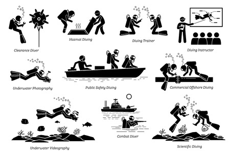 Underwater diving jobs for professional divers. Illustrations depict diving jobs that include clearance, hazmat, trainer, photographer, combat, public safety, commercial, and scientific diving.
