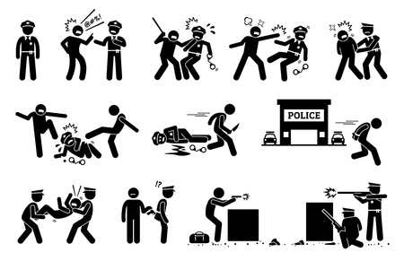 Man fighting, obstructing, and resisting police arrest. Pictogram depicts criminal threatening the law and order of justice by assaulting policeman. Illustration