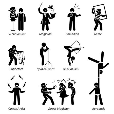 Artistas teatrales, animadores, artistas y actuaciones en vivo. Los pictogramas representan ventrílocuo, mago, comediante, mimo, titiritero, palabra hablada, circo, mago callejero y habilidades acrobáticas. Ilustración de vector