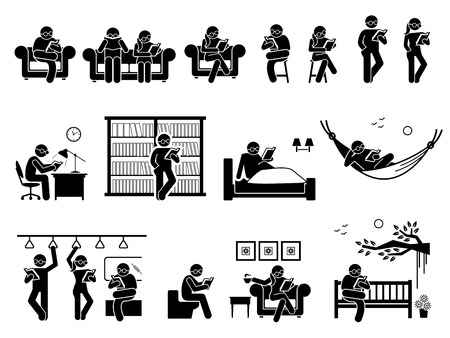 Pictogram depicts man and woman sitting and standing to read book on couch, chair, table, library, bed, hammock, train, toilet, coffee shop, and garden park.