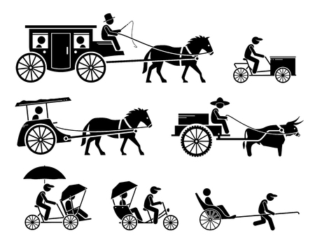 Pictograms depict dokar, dogcart, horse carriage car, cargo bicycle, bullock cart, trishaw, rickshaw, and horse drawn vehicle.  イラスト・ベクター素材