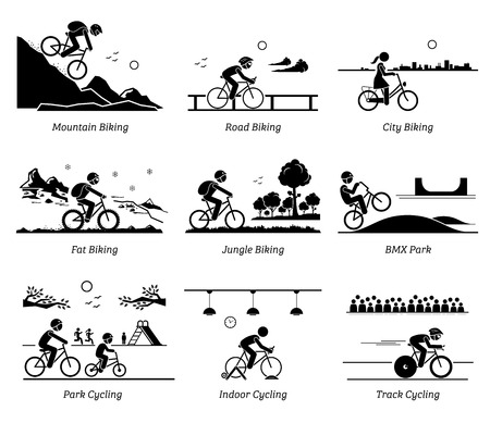 Cyclist cycling and riding bicycle in different places. Pictograms depict biking at mountain, road, city, ice, jungle, BMX, park, indoor, and track. Ilustração