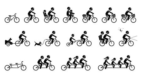 Accesorios y equipamientos para bicicletas. Los pictogramas representan el tipo de accesorios, asientos, engranajes y piezas de bicicleta para adultos, niños, perros y familiares. Bicicleta tándem de dos, tres y cuatro plazas.