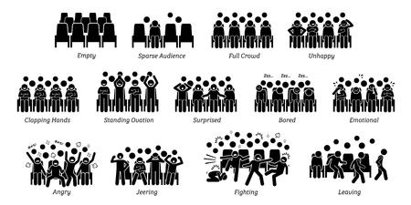 Los pictogramas representan a los espectadores de espectáculos en vivo emociones y acciones como felicidad, infelicidad, aplaudir, sorpresa, aburrimiento, enojo y llanto.