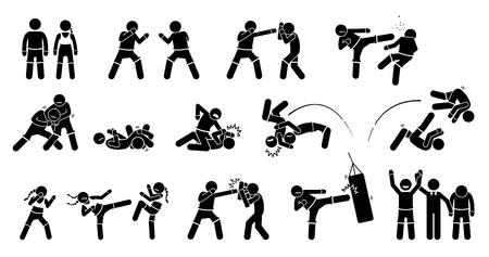 MMA Mixed Martial Arts Aktionen. Das Piktogramm zeigt MMA-Kämpfer mit Kampf- und Kampftechniken. Diese männlichen und weiblichen MMA-Posen sind Schlag, Tritt, Block-Grappling, Chocking, Werfen und Training.