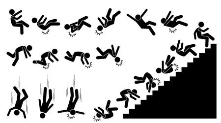 Man vallen en vallen. Pictogram toont een persoon die naar beneden valt en op verschillende delen van het lichaam klopt. De verwondingen zijn op rug, elleboog, hoofd, knie en nek. Hij viel ook van de trap.