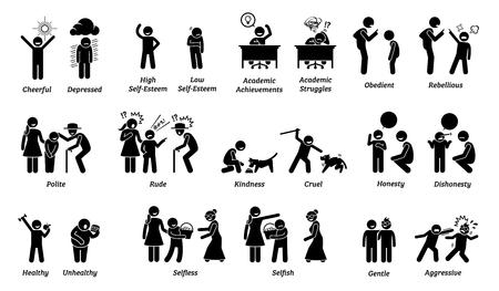 Kindereigenschaften, Einstellungen, Gefühle und Emotionen. Abbildungen zeigen das entgegengesetzte Verhalten und die Gefühle von Kindern und Kindern. Vektorgrafik