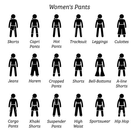 Pantalons, pantalons et shorts pour femmes. Les figurines en bâton représentent un ensemble de bas, pantalons, pantalons et shorts différents. Ces conceptions de vêtements de mode sont portées par les femmes, les femmes, les femmes et les filles.