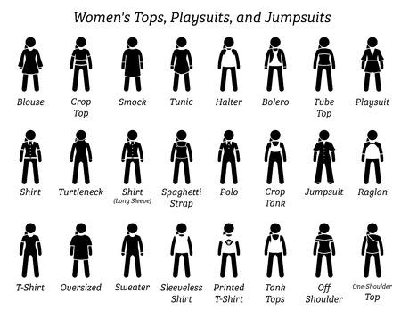 Hauts, combishorts et combinaisons pour femmes. Les figurines en bâton représentent un ensemble de différents types de hauts, de t-shirts, de chemises, de combinaisons et de combinaisons. Ces conceptions de vêtements de mode sont portées par une femme, une femme et une fille.