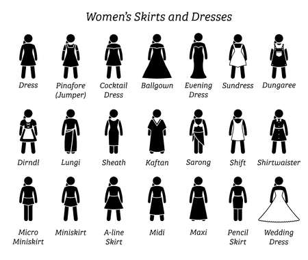 Women skirts and dresses. Stick figures depict a set of different types of skirt and dress. This fashion clothings design are wear by woman, female, lady, or girls.