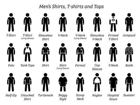 Men shirts, t-shirts, and tops. Stick figures depict a set of different types of shirts, t-shirts, and tops. This fashion clothings design are wear by men or male. Illustration