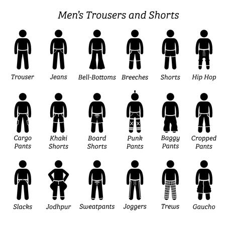Pantalón, pantalón y bermudas de hombre. Las figuras de palos representan un conjunto de diferentes tipos de pantalones, pantalones y pantalones cortos. Este diseño de ropa de moda es usado por hombres o hombres.