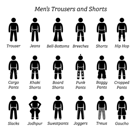 Men trousers, pant and shorts. Stick figures depict a set of different types of trousers, pants, and shorts. This fashion clothings design are wear by men or male.