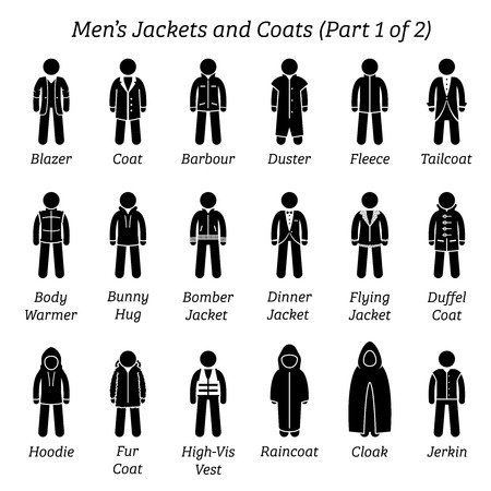 Men jackets and coats. Stick figures depict a set of different types of jackets and coats clothes. This fashion clothings design are wear by men or male. Part 1 of 2. Stock Illustratie