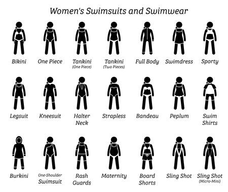 Maillots de bain et maillots de bain femme. Les figurines en bâton représentent différents types de maillots de bain à la mode par une femme, une dame, une fille ou une femme. Vecteurs