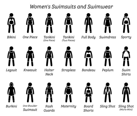 Women swimsuits and swimwear. Stick figures depict different types of swimming suits fashion wear by woman, lady, girl, or female.